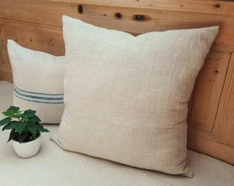 Authentic Grain Sack Pillow Cover / Antique linen/ Handwoven hemp fabric / Handmade Pillow Sham