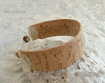 Bracelet of cork, cork jewelry, women jewelry, made in Italy, Sardinia, handcrafted jewelry, Italian jewelry, Women's Bracelets