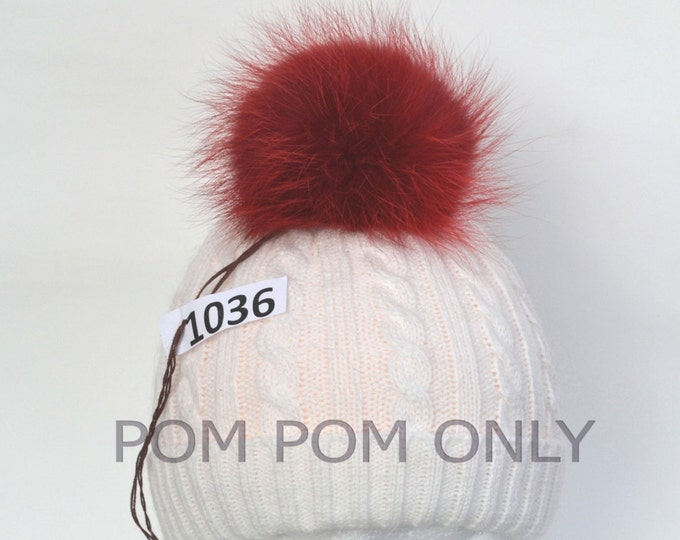 "5,5"" RED FOX POMPOM! Luxury Quality, Real Fox Pom Pom, Fur Pom Pom, Genuine Fur Pom Pom, Pom Pom for Hat, for Knitted hats, for Women Hats"