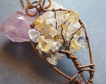 November Birthstone Necklace, November Birthstone Gift, Copper Tree of Life Necklace, Tree of Life Necklace, Citrine Necklace Copper Pendant