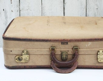 Vintage Hartmann Suitcase Luggage, Tweed and Leather Suitcase