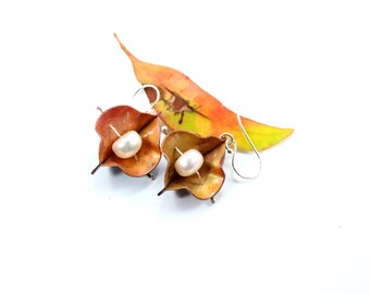 Botanical Earrings, Boho Earrings, Bohemian Earrings, Copper Earrings, Fold Formed Earrings, Nature Earrings Gift, Silver Earrings, Dangle