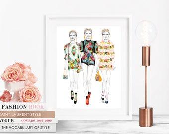D&G Trio / Fashion Illustration / Fashion Print