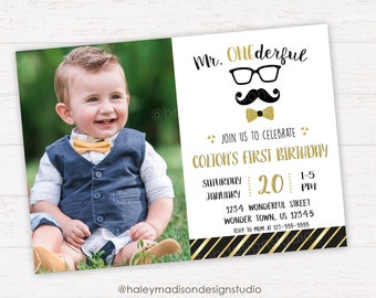 Mr. Onderful Birthday Invitation, Little Man First Birthday Invitation, Mustache, Bowtie party Invitation DIGITAL FILE
