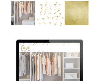 Logo Gold Foil Branding Kit Premade Photography Blogger Etsy Shop Logo Boho Feminine Customize Fonts Colors