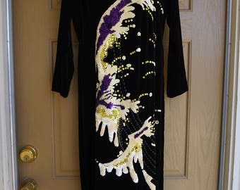 Vintage Asian inspired dress large purple velvet cheongsam dress with white sequins
