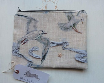 Seagull Makeup Bag Large Clutch Purse Designer Linen Fabric Lined Padded Handmade