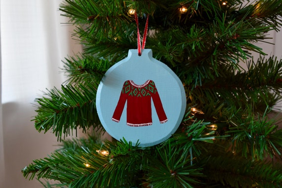Christmas Sweater Wooden Ornament, Hand-Painted / Dark Red, White, and Green / Christmas Ornament / Ugly Christmas Sweater