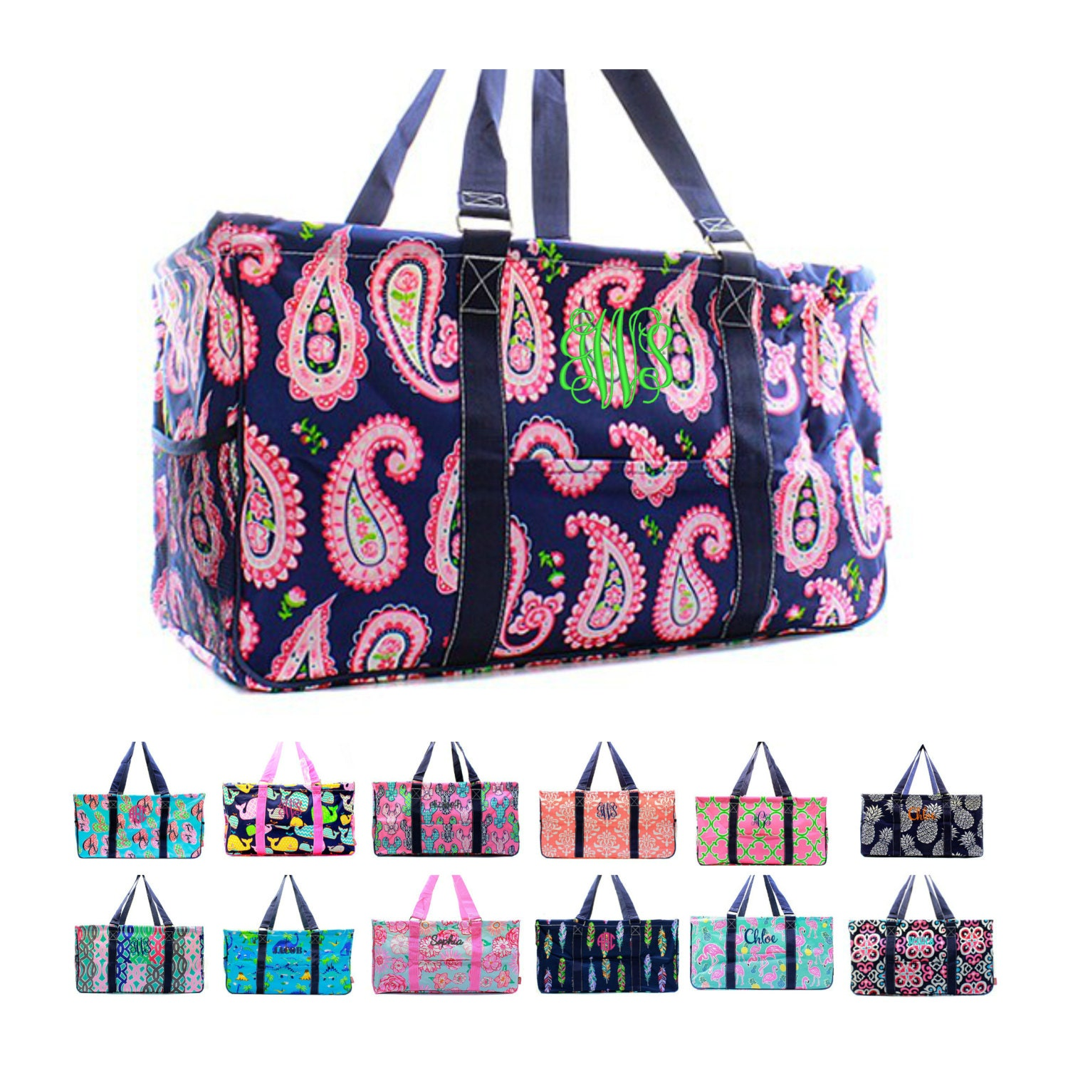 Monogrammed large utility tote bag personalized beach picnic