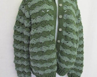 Bulky Cardigan Moss Green Cardigan Sweater Slouchy Sweater Crochet Sweater Handknit Cardigan OOAK