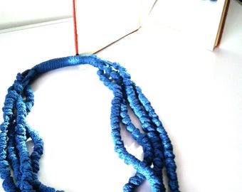 Knotted fabric necklace  soft scarf BLUE