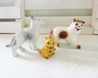 Miniature Dog, Cat and Pig Figurine Lot