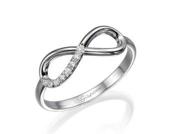 White Gold Infinity Ring, Engagement Ring, Wedding RIng, Art Deco Ring, Promise Ring, 14k ring, Infinity Band, Diamond Ring, Statement Ring