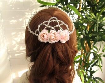 Hair accessories wedding, wreath beaded flowers, Bridal Crown, tiara tiara, pearls white wedding, wreath,