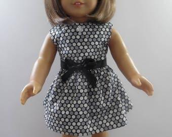 American Girl Black and Grey Polka Dot Dress