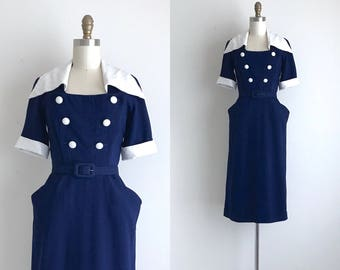 "1950s Dress / Vintage 1950s Dress / Navy Rayon Day Dress 24"" Waist"