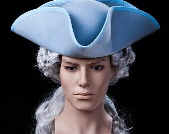 Tricorn Carnival Hat bleu Baroque Rococo Carnival masquerade ball Herrnhut three master