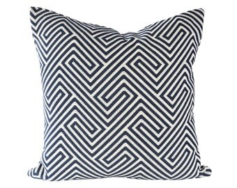 READY TO SHIP - 20x20 Scalamandre Labyrinth Weave Navy designer pillow cover (2-sided)