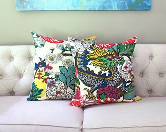 Chiang Mai Dragon pillow covers:  ** choose dragon motif, floral motif, one on each side, or a pair ** (see Item Details for more info)