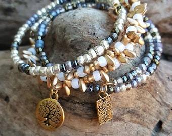 Golden Harmony, Triple, Bangle, Beaded, Bracelet Set, Om, Yoga, Meditation, Zen