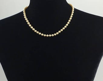 Vintage Signed Monet Hand Knotted Faux Pearl Princess Length 17 inch Necklace