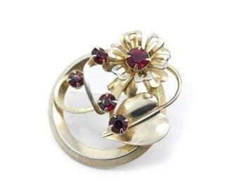 Vintage Red Rhinestone Brooch, Flower, Round, Gold Tone