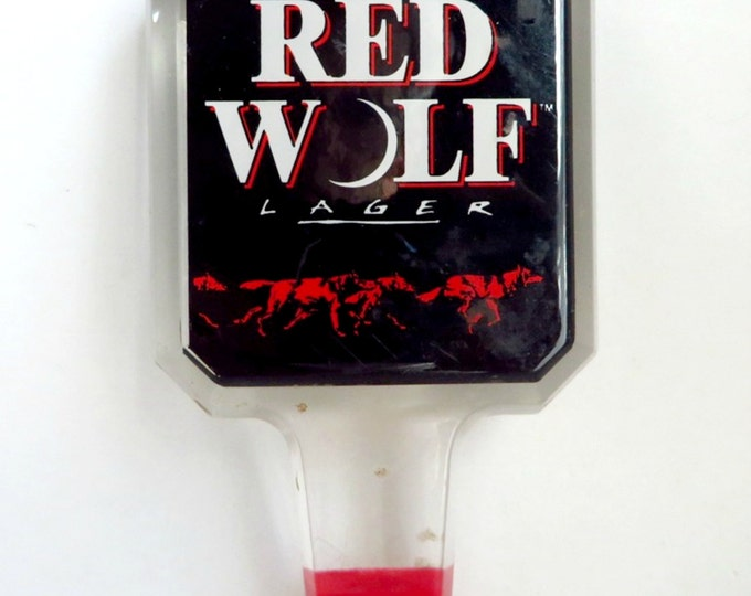 Vintage Red Wolf Beer Tap Handle, Beer Bar Collectible
