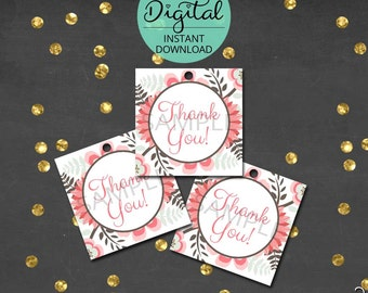 Woodland Thank You Tags, Thank You, Woodland Deer, Woodland Birthday, Woodland Baby Shower, Printable Tags,  INSTANT DOWNLOAD #2231