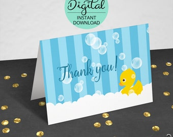 Rubber Ducky Thank You Cards, Baby Shower, Thank You Note,Rubber Duck, Duck, Duck Baby Shower, Ducky, PDF, jpeg, jpg, INSTANT DOWNLOAD #4986