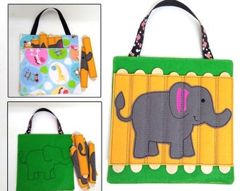 Elephant Stick Puzzle with Zipper Bag. Popsicle Puzzle, Busy Bag. Preschool, Toddler, Quiet Toy, Gift