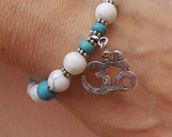 Mala bracelet.Ohm bracelet. Gemstone mala bracelet. Wrist mala. Buddhist prayer beads. Yoga bracelet. Turquoise bracelet. Bohemian bracelet.
