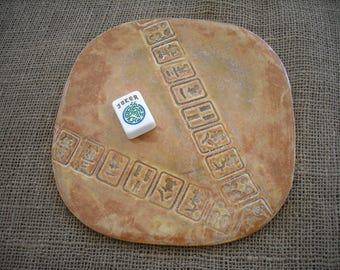 Burnt Orange Mahjong Plate - Mahjongg Pottery - Oriental Plate - Mahjong Pottery - Mahjong Snacks - Mahjong Gift