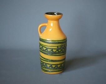 EAST GERMAN Vase, Strehla VEB 1302, German Fat Lava Vase, Made in Germany 1960s, Mustard Yellow and Green Vase, West German Pottery Vase