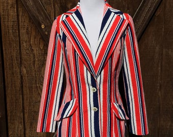 Vintage 70s Red, White, and Blue Striped Jacket
