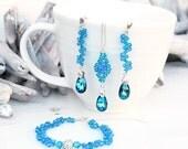 Teal Blue Green Swarovski Earrings Necklace Bracelet Set-Long Dangle Beaded Earrings-Sterling Silver-Wedding Bridesmaids Swarovski Jewellery