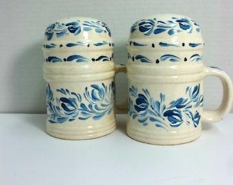 Vintage, White Stoneware, Salt and Pepper, Hand Painted, Blue and White, Scandinavian Design, Rosemaling, Folk Art, Salt Pepper,Shaker