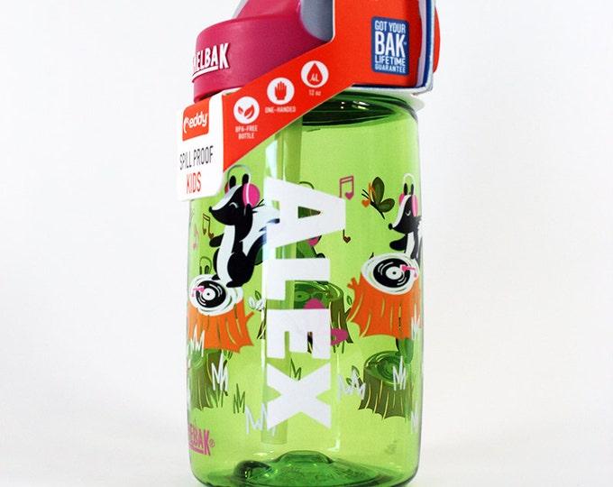 Personalized .4L Kid's DJ Skunks Camelbak Bottle - Water Bottle, Hydrate, Bite Valve, Student, Toddler, Skunkx, Cute, Music, Green, Pink