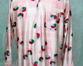 1970s Shirt Pink Disco Polyester Vintage Shirt Large Size Hardly Worn
