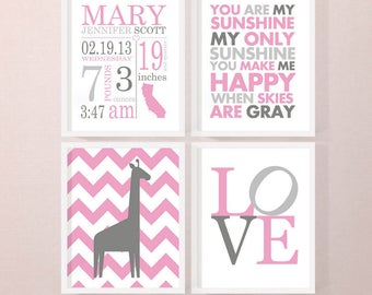 baby girl nursery birth announcement wall art PRINT or CANVAS, baby girl room decor, baby girl decor with stats, personalized baby decor