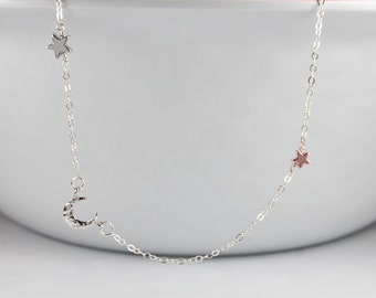 Moon Star Jewelry,New mom necklace,Birthday , Bridesmaid Sister Jewelry,Moon Stars ,Gift For Girlfriend, Gift For Sister.rose gold star