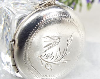 Vintage 1950's Sterling Silver Circular Engraved Flying Bird Locket Necklace