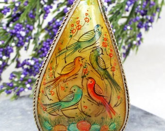 Vintage / Silver and Mother of Pearl Painted Birds of Paradise Pendant Necklace