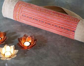 yoga mat bag, yoga mat bag Hmong, yoga bag Hmong, yoga mat carrier, yoga mat holder, yoga sling, cream yoga bag, upcycled yoga mat bag, gift