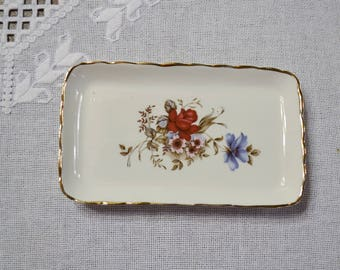 Vintage Sutherland Fine Bone China Butter Dish Red Blue Floral Design England PanchosPorch