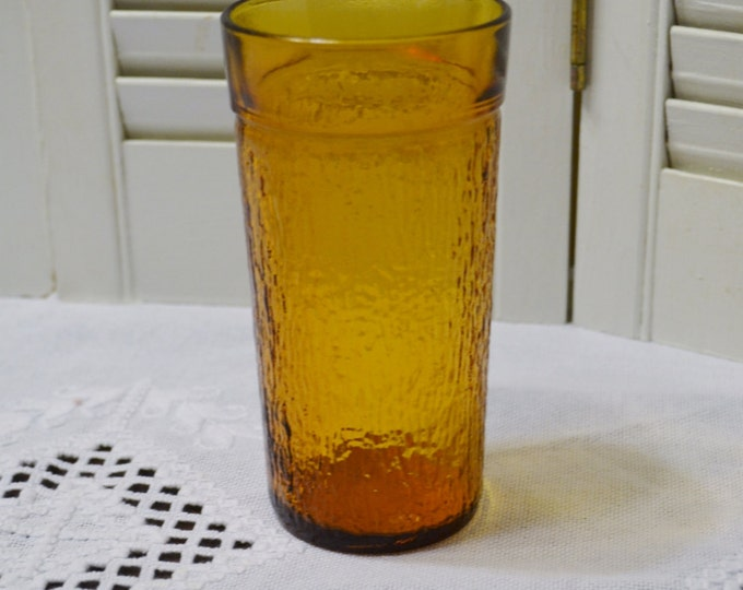Vintage Amber Glass Tumbler Textured Tall Drinking Glass Vertical Stripe PanchosPorch