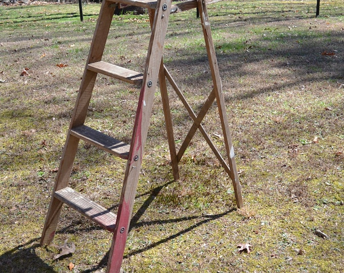Vintage Wood Ladder Folding Wooden Step Ladder Rustic Home Decor Book Shelf Panchosporch