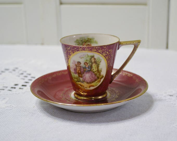Vintage Demitasse Cup and Saucer Andrea Occupied Japan Colonial Couple Red Gold Hand Painted PanchosPorch