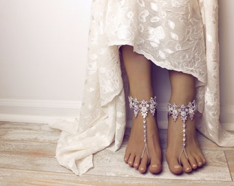 Amira Barefoot Sandals Anklet Beach Wedding Sandals Rhinestone Shoes Jewelry for Bride Bridal Sandals Bridal Anklet Ankle Bracelet Jewelry