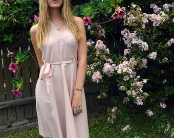 Summer Delights Dusty Pink Halter Wrap Dress in Soft Sheer Cotton Voile