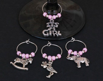 Baby Shower-New Baby Girl-Wine Glass Charms-Set of 4-ITSAGIRL006-4